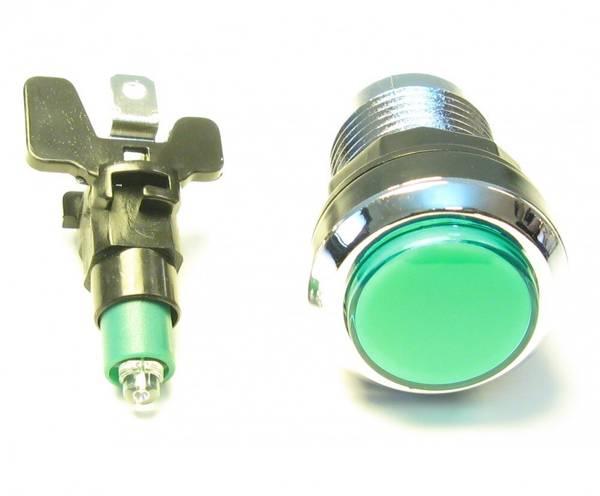Image of Green Illuminated Pushbutton, Silverplated